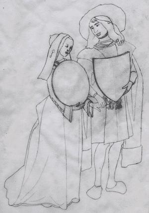 Illustration héraldique d'un menu de mariage.