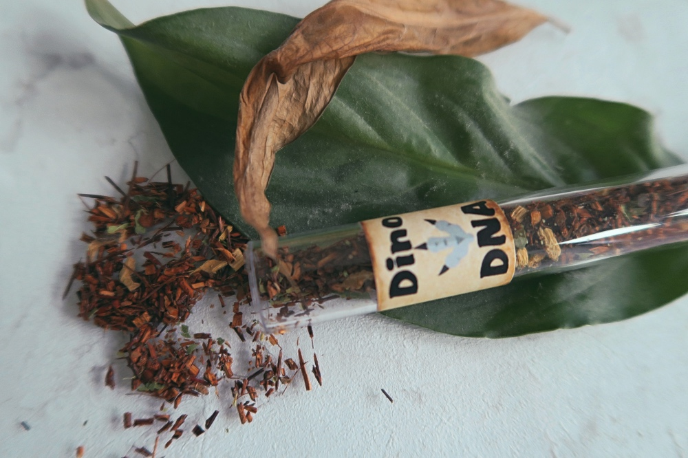 The tea scattered on a marble background, with the tube lying on top of a leaf