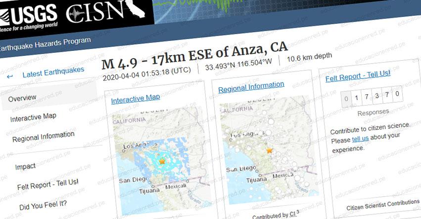 TEMBLOR EN ESTADOS UNIDOS: Sismo de Magnitud 4.9 (Hoy Viernes 3 Abril 2020) Epicentro - California - Anza - Tijuana - Mexicali - México - EEUU - USGS