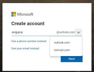 Alamat email dan pilih akun microsoft