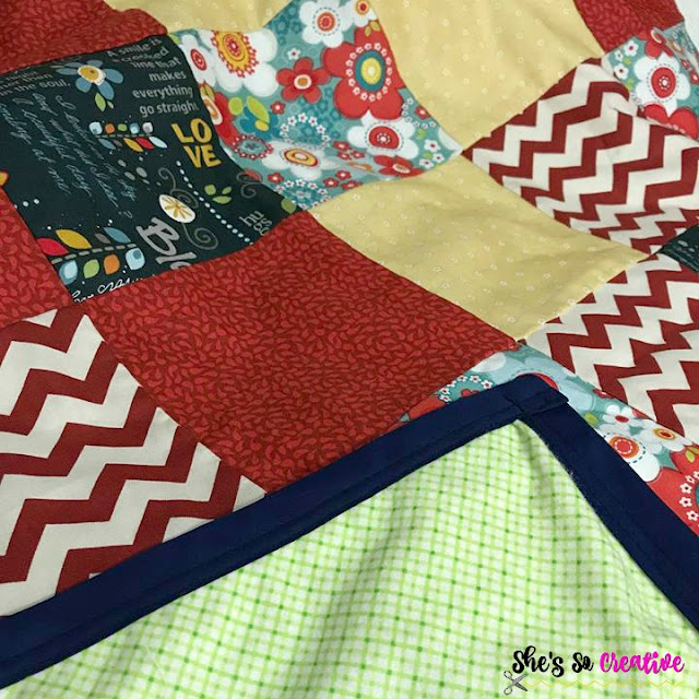 Simple Beginner Quilt top panel close up
