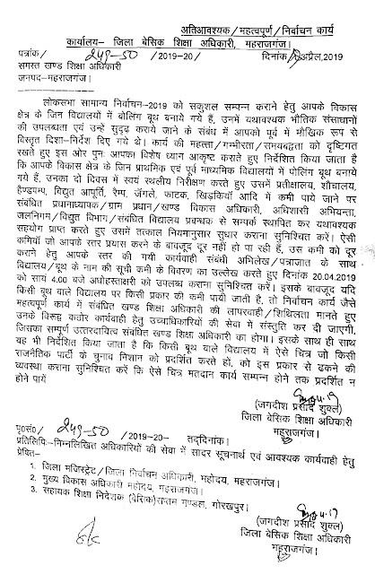 महराजगंज : लोक सभा चुनाव 2019 के मद्देनजर सभी बूथों में बुनियादी सुविधाएं उपलब्ध कराने सम्बन्धी आदेश जारी