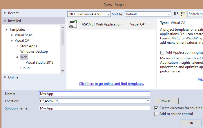 Visual Studio Create New ASP.NET Web Application
