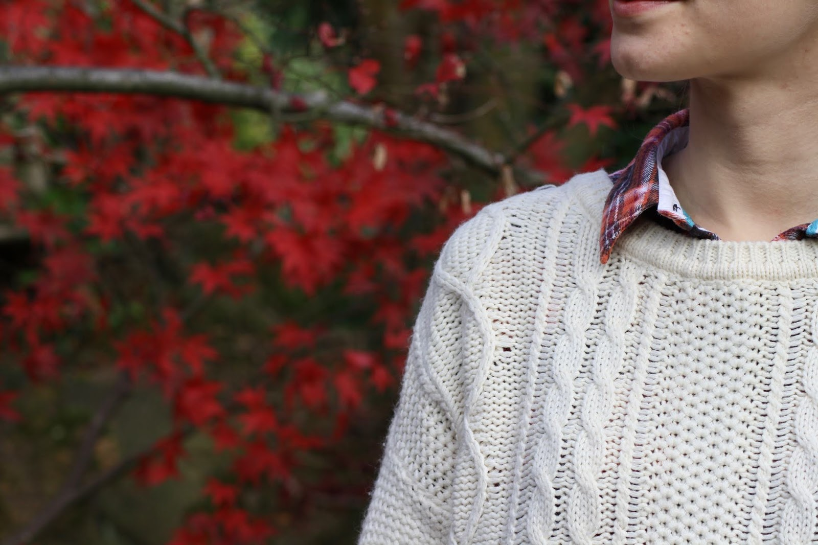 close up of details of a cable knit jumper with a checked collar at the neck