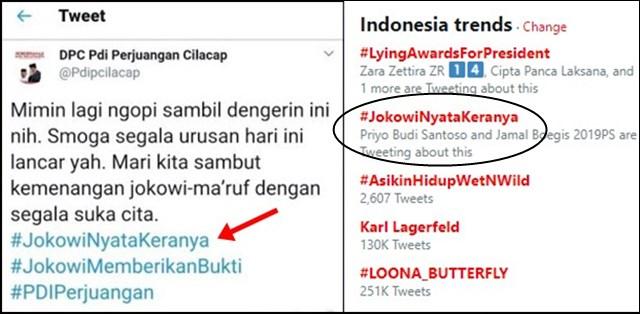 Tagar #JokowiNyataKeranya Trending Topic, Akun PDIP Cilacap Minta Maaf karena Typo