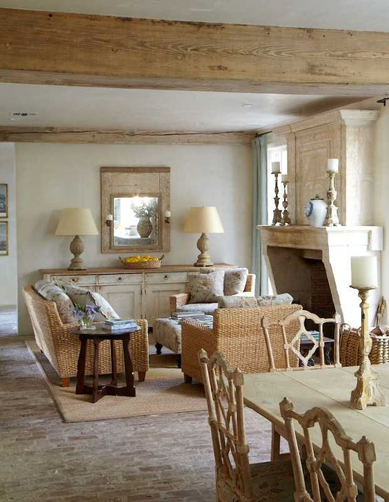 The quiet beauty of the hushed color palette and rustic elegance in this French Country style interior oozes cozy warmth. Come tour more moments of European country inspired interior design.