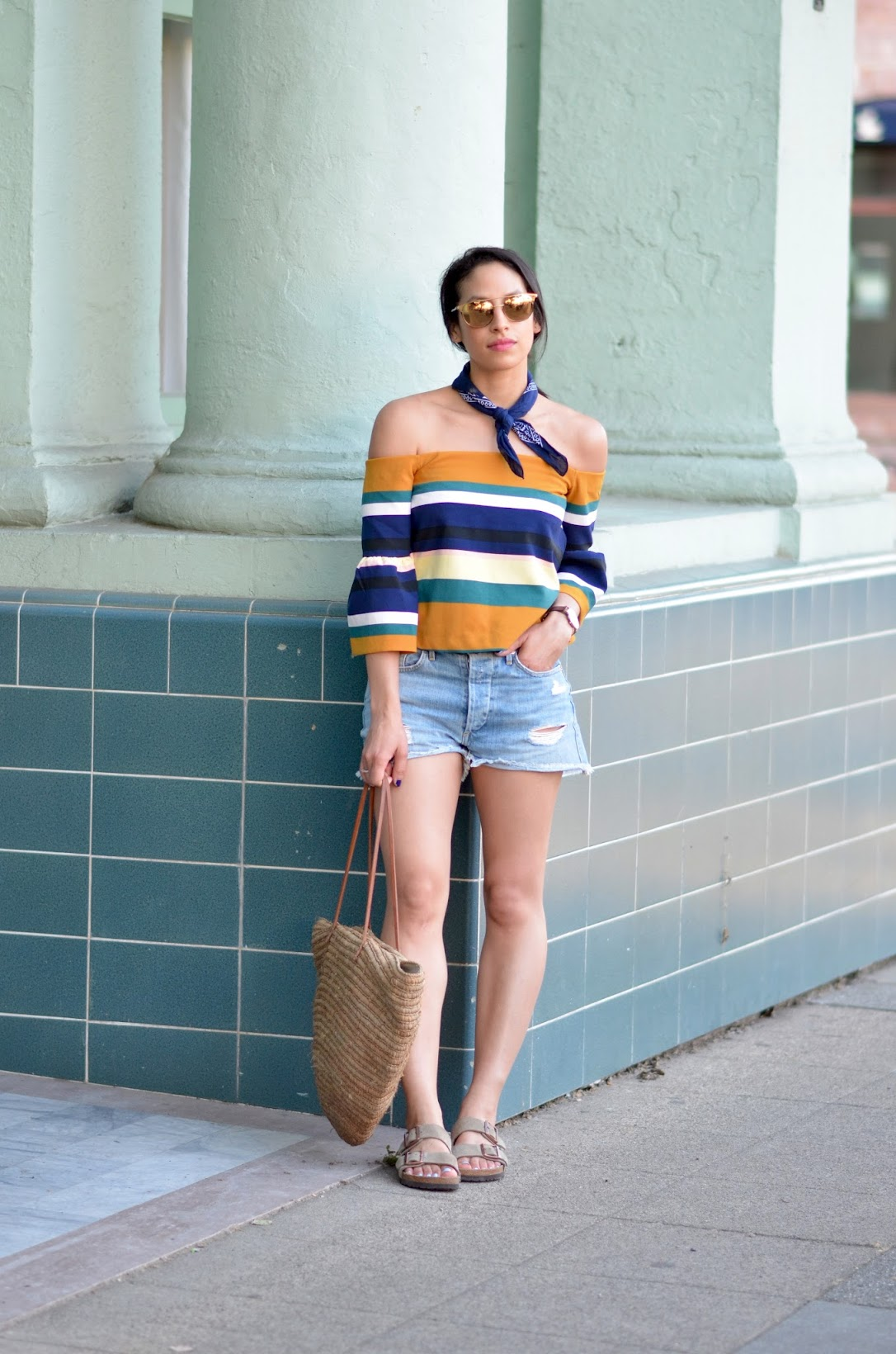summer time stripes, bandana trend, Allergic to Vanilla, straw tote bag, bell sleeve top, how to stylishly wear birkenstocks