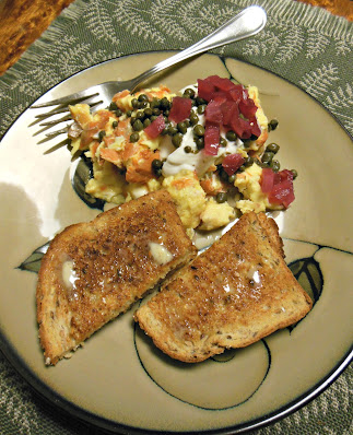 Scrambled Eggs with Smoked Salmon Sour Cream Pickled Red Onions and Capers