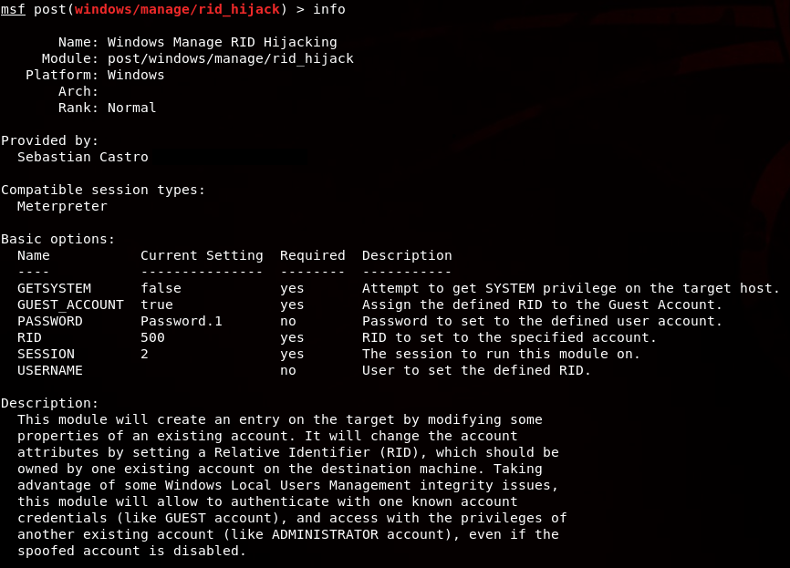 Windows: RID Hijacking allows guests to become an Admin