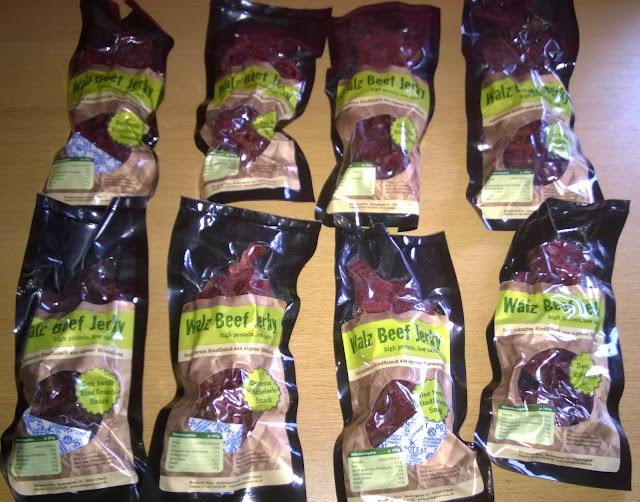 8 verschiedene Sorten Beef Jerky.
