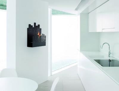 Nerone wall-mounted fireplace