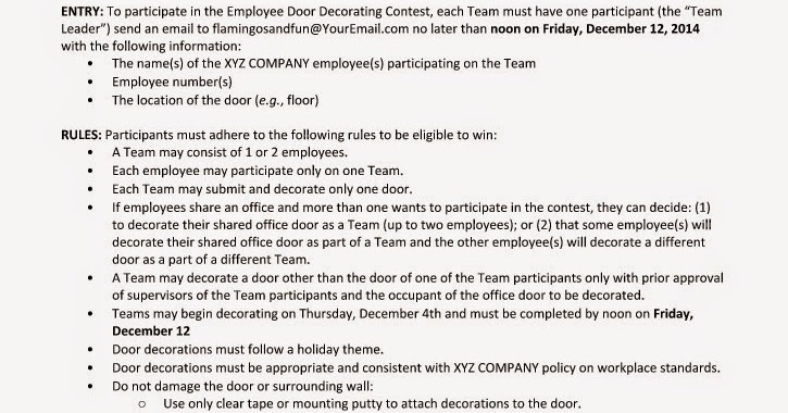 Holiday Door Decorating Contest Judging Criteria