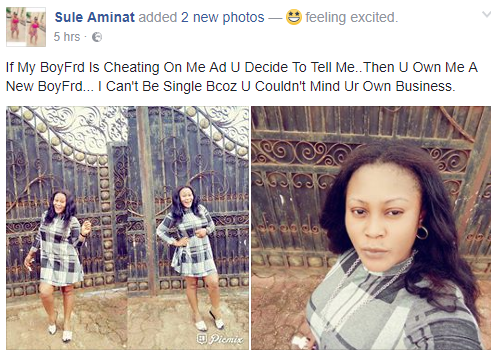 I can't be single because you couldn't mind your business- Nigerian lady aks her friends not to tell her about her boyfriend's infidelity