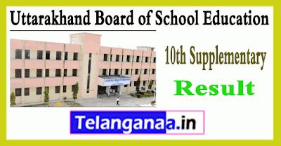 Uttarakhand Board 10th Class Supplementary Result