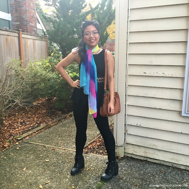 Multicolored Turquoise and Pink Scarf Gamiss - Andrea Tiffany A Glimpse of Glam