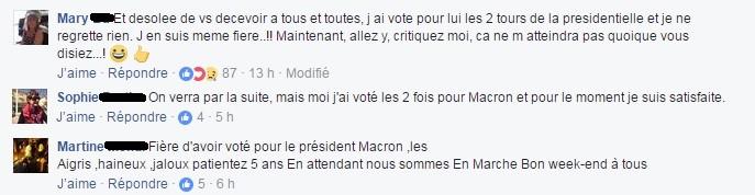 Captures d'écran Facebook -  Compilation de commentaires sous la publication de France info, le 24 juin