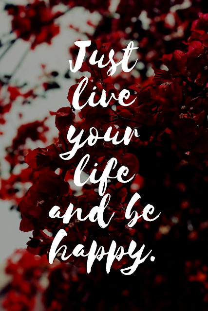Just live your life and be happy.