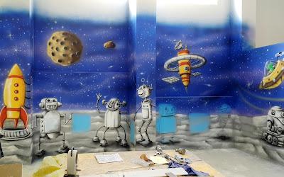 Malowanie sali zabaw, mural 3D, mural w bawialni, artystyczne malowanie ścian dla dzieci, obrazy malowane na ścianach