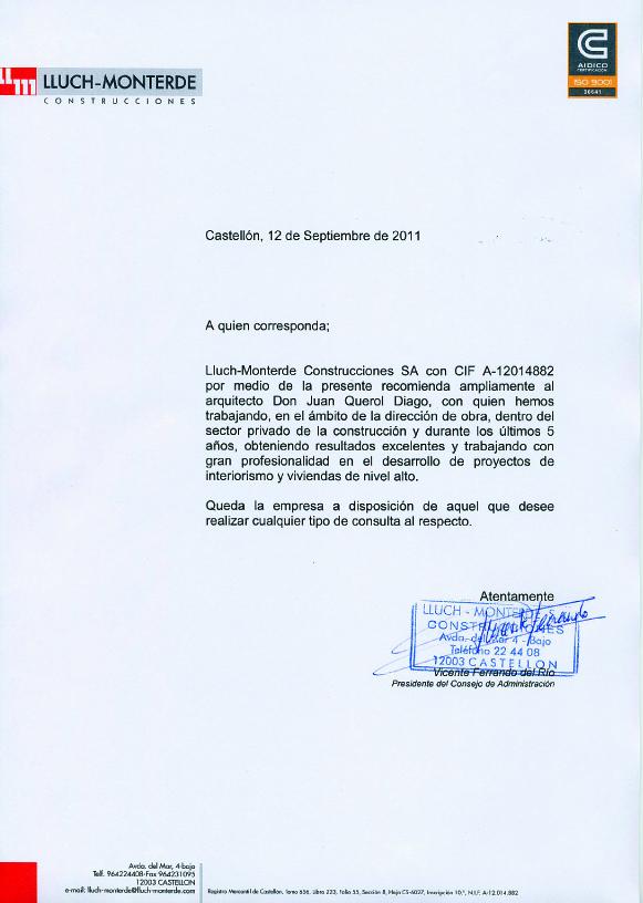 Juan Querol CARTAS DE RECOMENDACIÓN