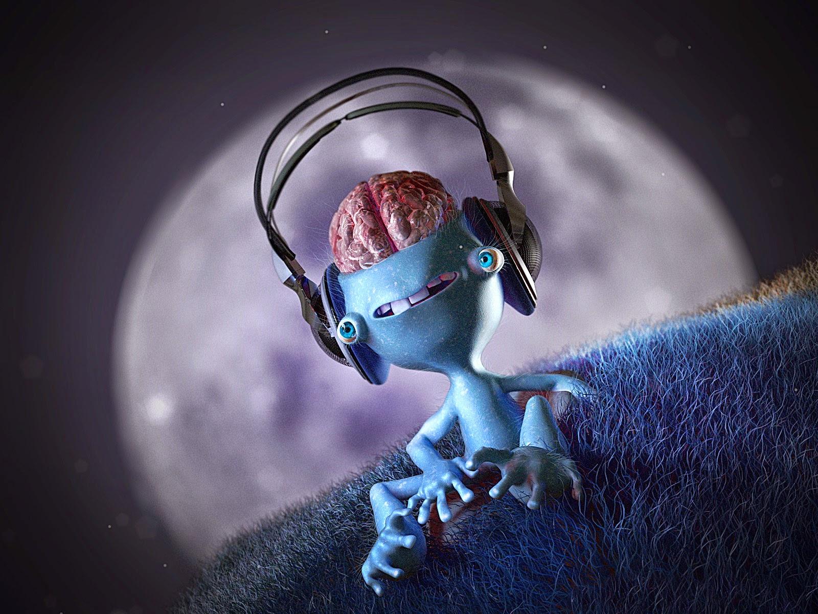 3D Brainy Alien Listning Music Wallpaper ...