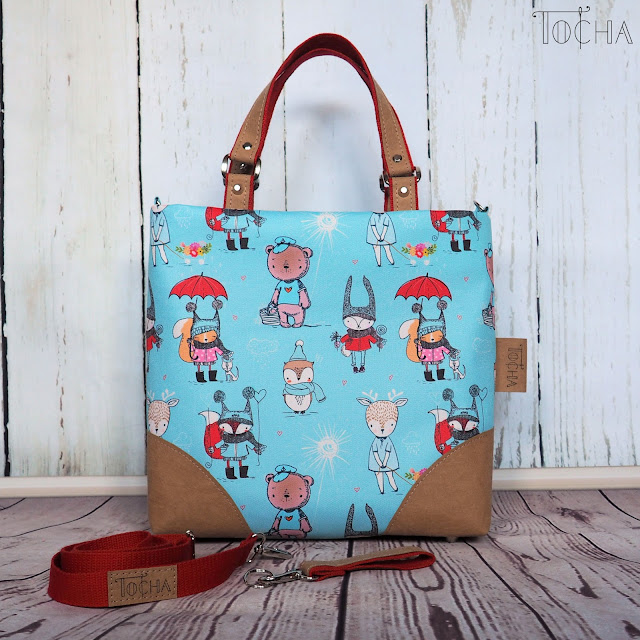 Washpapa, Vegan, Tkaniny Karoliny, Inny wymiar Szycia, woodland animals, woodland creatures, cute, waterproof, shoulder bag, handbag, messenger bag, zip, fox, rabbit, bear, squirrel,
