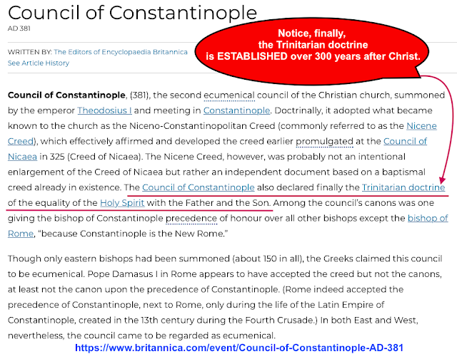 Notice, finally, the Trinitarian doctrine is ESTABLISHED over 300 years after Christ. WHY IS THE TRINITY A CONSPIRACY CONTAINING DESTRUCTIVE HERESIES?
