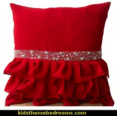 Elegant Red Pillow, Ruffled Sequin Throw Pillow, Mother's day gifts, Georgette Pillow, Red Cushion Covers, Beaded Pillows, Wedding Pillow