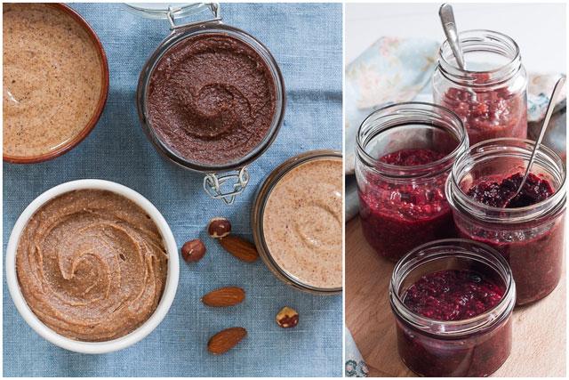 Puter od orašastih plodova i chia džem od bobičastog voća - kolaž