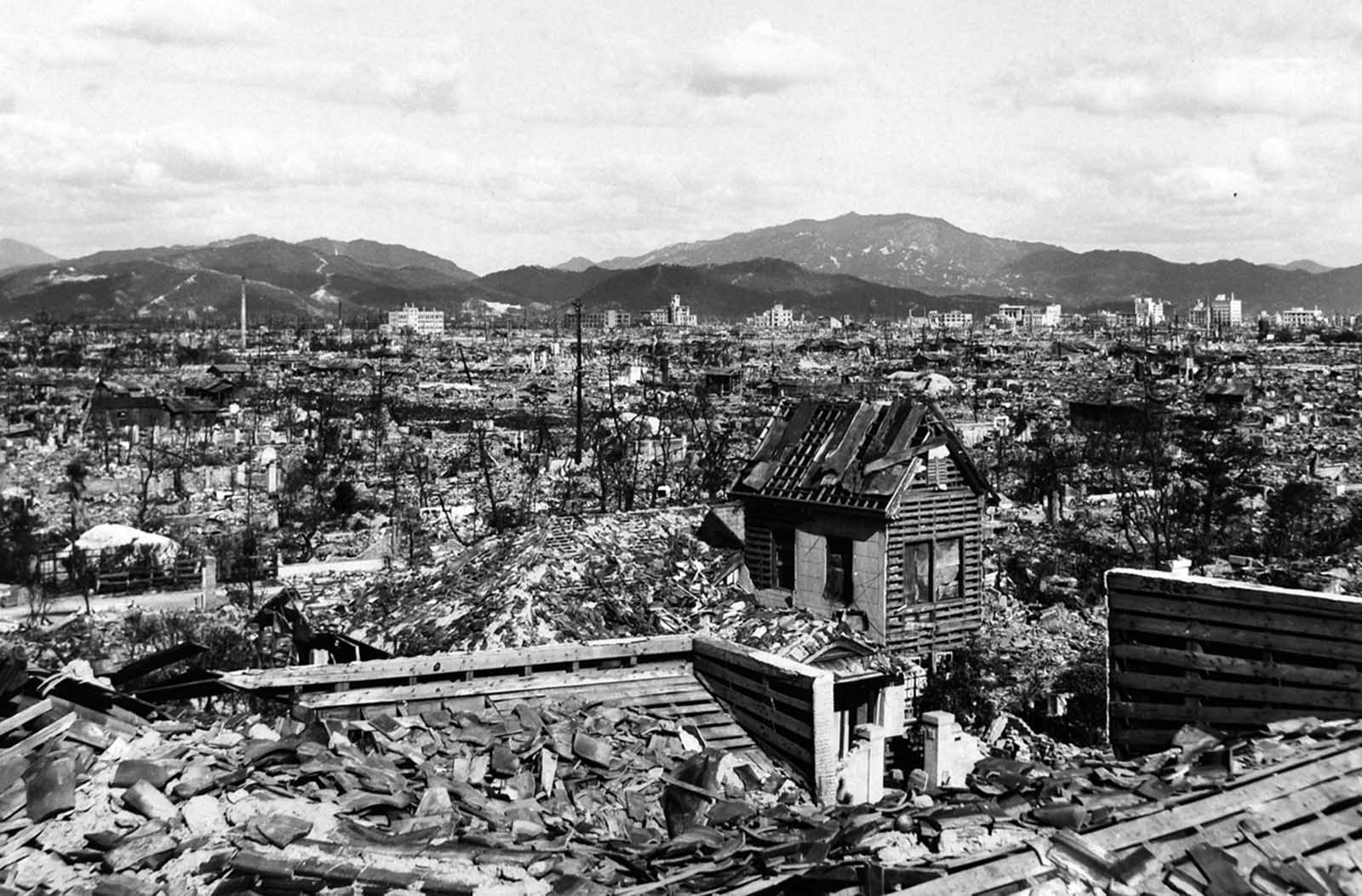 The devastated landscape of Hiroshima, months after the bombing.