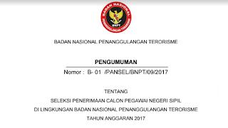 Penerimaan CPNS Terbaru Badan Nasional Penanggulangan Terorisme