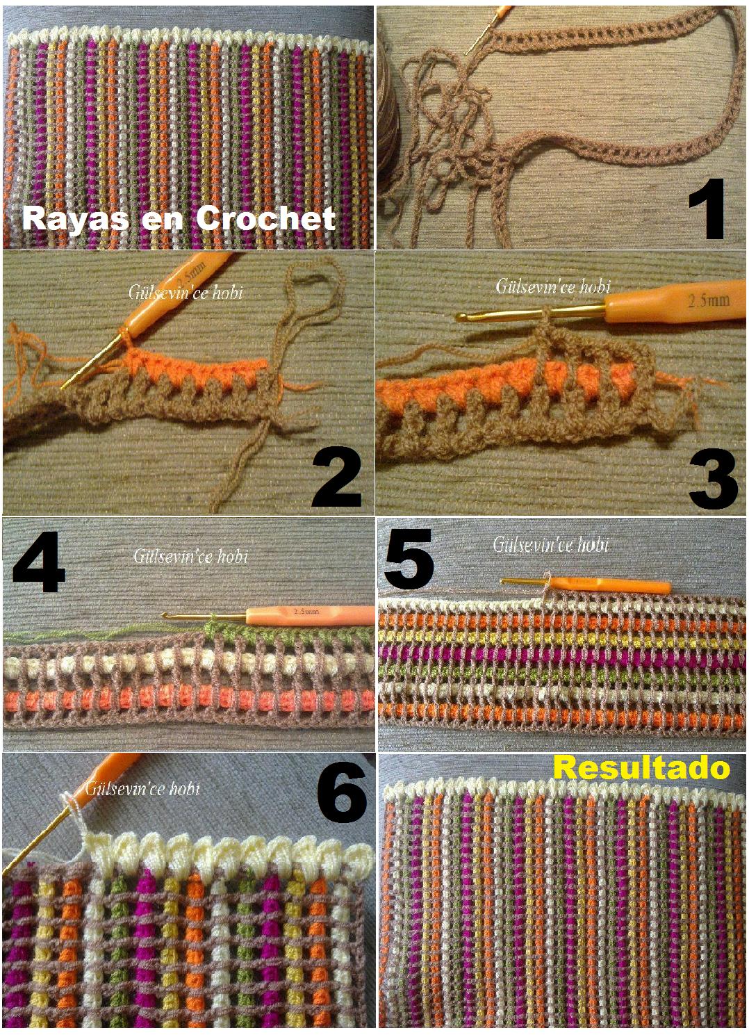 Tutorial Paso a Paso Rayas de Crochet