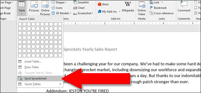 inserire una tabella di Excel in Word 2016