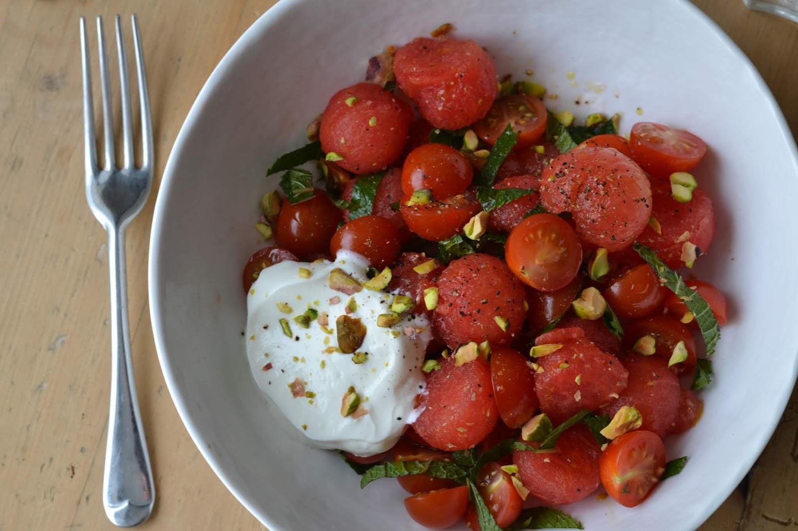 Piccolo cherry tomato, watermelon and mint salad