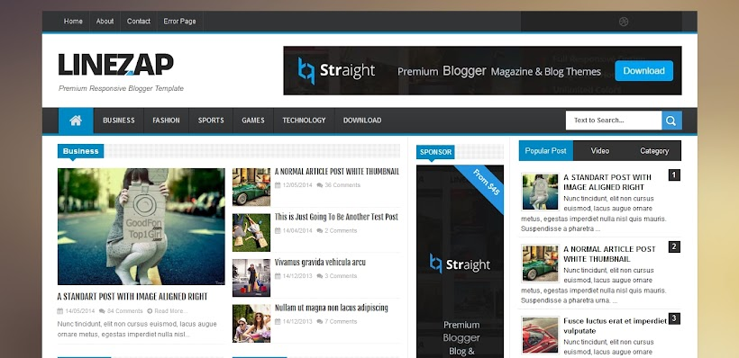 Linezap Free Blogger Template