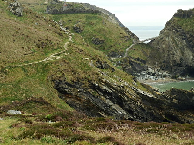 View of bridge and steps leading to Tintagel Castle