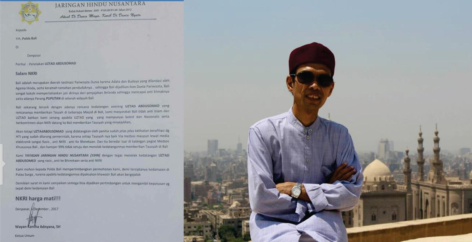 "Dengan Dalih ""NKRI Harga Mati"" Jaringan Hindu Nusantara Tolak Ustadz Abdul Somad ke Bali"
