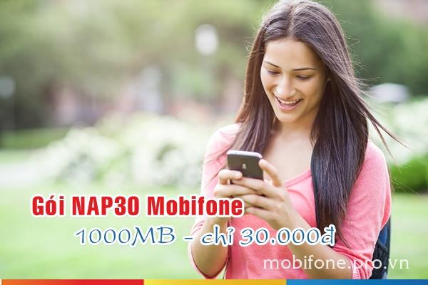 Mua thêm 1000MB dung lượng chỉ 30.000đ từ gói NAP30 Mobifone