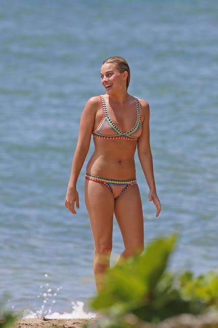 Margot Robbie in Bikini on the Beach in Hawaii