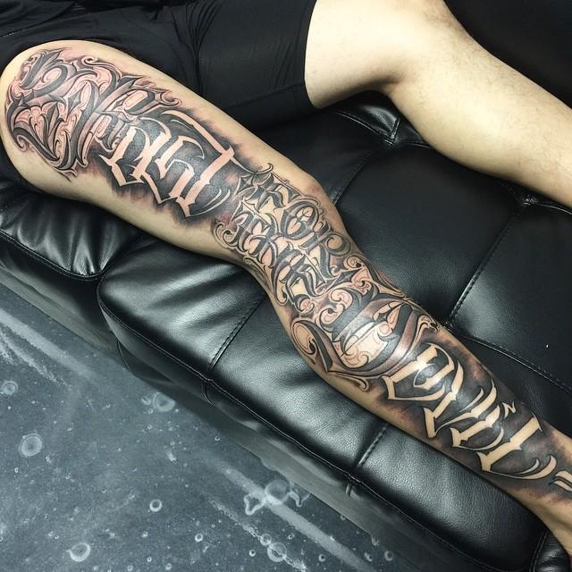 2 Fast For The Devil Leg Tattoo