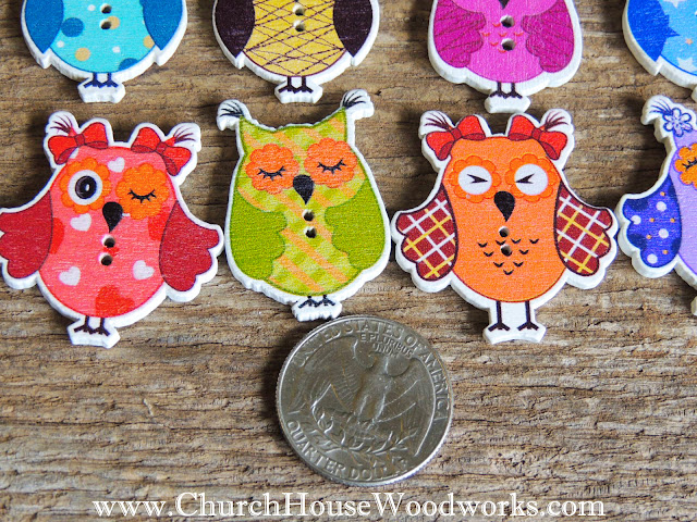 DIY Sewing Owl Buttons by Church House Woodworks- Woodland, Animals,