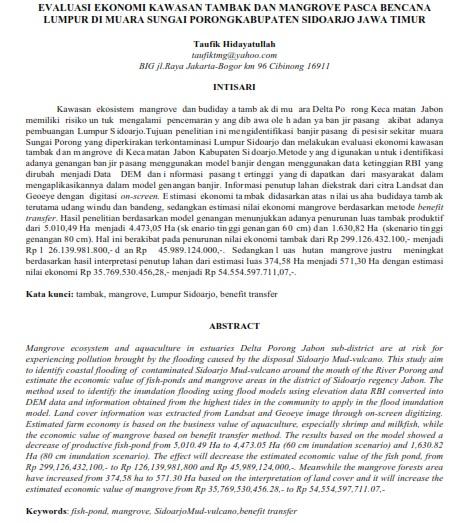 Evaluasi Ekonomi Kawasan Tambak dan Mangrove Pasca Bencana Lumpur [Paper]