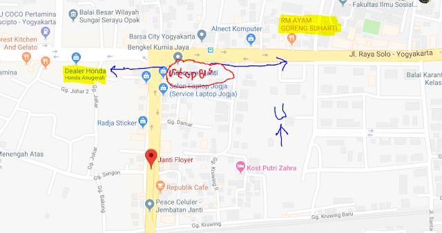 Titik Jemput Penumpang Ojek Online Gojek-Grab di Fly Over Janti Yogyakarta