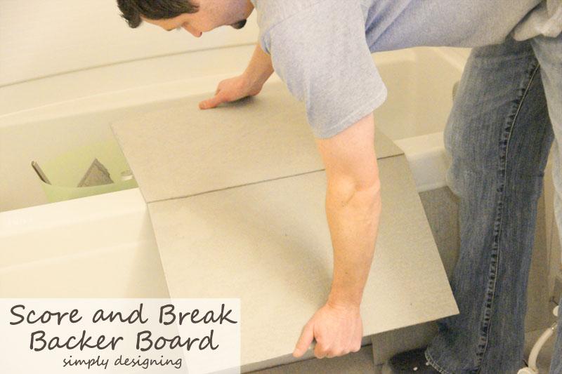 Score and Break Concrete Backer Board for Tile Floor Installation {Tile Installation: Part 2} #diy #tile #bathroomremodel #thetileshop @thetileshop