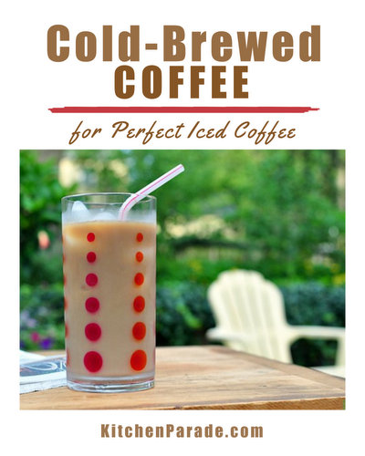 Cold-Brewed Coffee ♥ KitchenParade.com, for smooth, low-acidity coffee, just brew coffee grounds in water overnight. It's a summer saver!