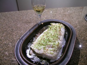 Layer of Leak on Top of Halibut