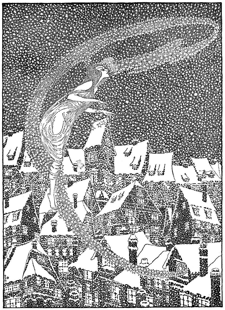 Dugald Stewart Walker book illustration of a snow storm