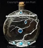 wire embellished glass art bottle, tree of life bottle, wire tree of life