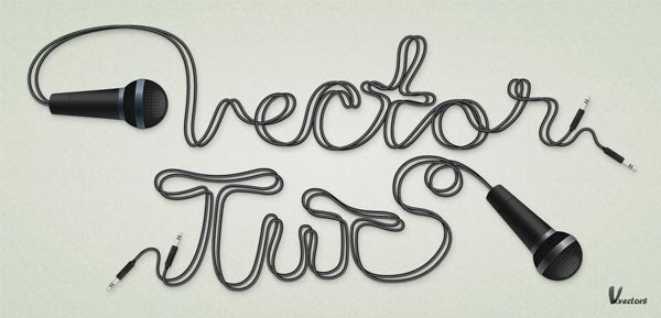 Create a Microphone Illustration and Cable Text Effect