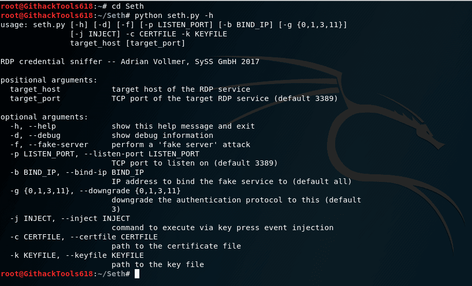 Seth - A MITM attacking tool with RDP connection written in