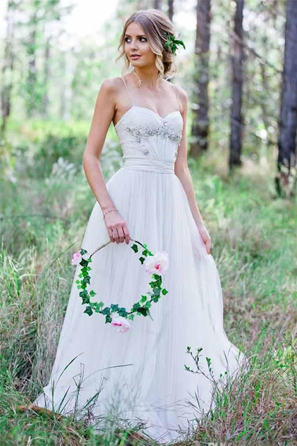 2019 Beadings A-Line Simple Cheap Spaghetti-Straps Tulle Wedding Dress